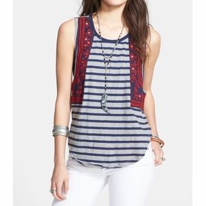 Free People Wear Your Sparkle Embroidered Tank S